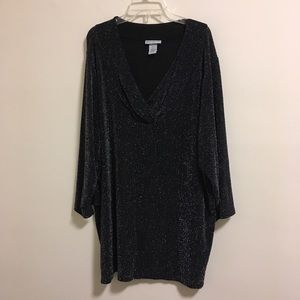Catherines Metallic Sweater Wrap Tunic Dress 2X